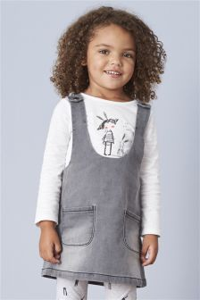 Denim Pini And Top Set (3mths-6yrs)