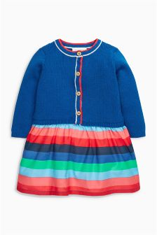 Knitted Woven Mix Dress (0mths-2yrs)