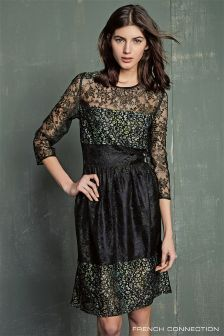 French Connection Khaki Molly Lace Dress