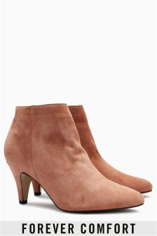 Forever Comfort Suede Cone Heel Shoe Boots