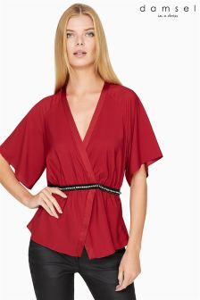 Damsel In A Dress Red Satin Embellished Blouse