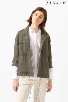 Jigsaw Green Linen Tencel Military Jacket