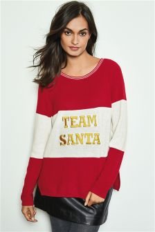 Boohoo jumper red and white Size S/M Christmas theme merry Christmas on the front long sleeves.