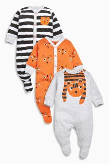 Tiger Sleepsuits Three Pack (0mths-2yrs)