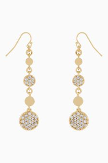 Accessorize Clear Discy Diamanté Drop Earrings