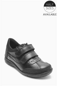 Black Double Strap Shoes (Older Boys)
