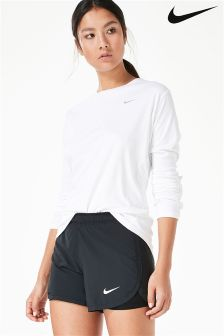 Nike White Dry Miler Running Top