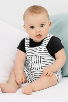 Stripe Dungarees And Bodysuit (0mths-2yrs)