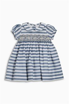 Stripe Smocked Dress And Knickers Set (0mths-2yrs)