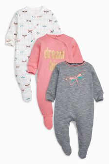 Dragonfly Sleepsuits Three Pack (0mths-2yrs)