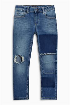 Distressed Patch Regular Jeans (3-16yrs)