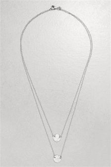 Two Row Hammered Disc Necklace
