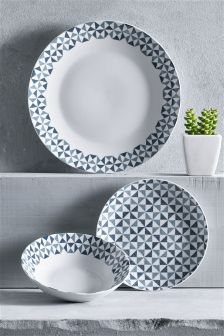 12 Piece Teal Geo Dinner Set