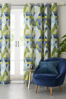 Scion Blue & Green Axis Curtains