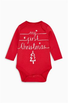 My First Christmas Long Sleeve Bodysuit (0-12mths)