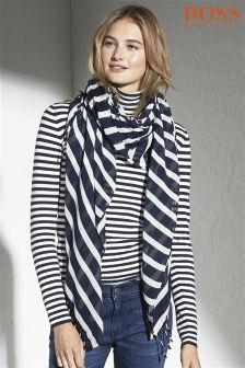 Boss Orange Navy/White Striped Scarf