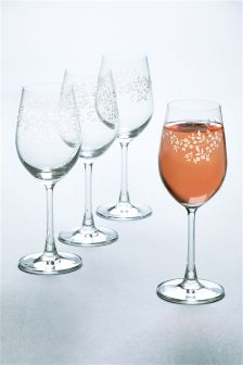 Set Of 4 Floral Wine Glasses
