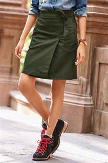 Wrap Front A-line Skirt