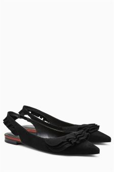 Ruffle Leather Slingback Points