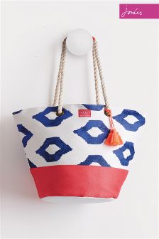 Joules Pool Blue Ikat Beach Bag