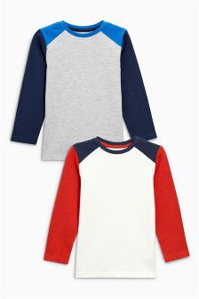 Raglan Sleeve Tops Two Pack (3-16yrs)