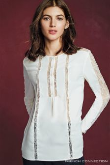 French Connection Ivory Polly Plains Ivory Blouse