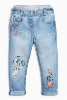 Embroidered Pull-On Jeans (3mths-6yrs)