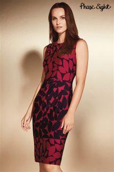 Phase Eight Red/Black Leora Leaf Print Dress