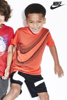 Nike Little Kids Max Orange Swoosh Micro Mesh T-Shirt