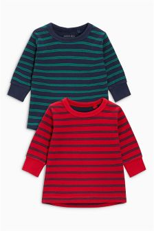 Stripe Long Sleeve Double Cloth Layer Tops Two Pack (3mths-6yrs)