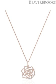 Beaverbrooks Silver Rose Gold Plated Cubic Zirconia Flower Pendant