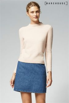 Warehouse Pink Stretch Bouclé Crew Jumper