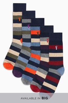 Stripe Stag Socks Five Pack