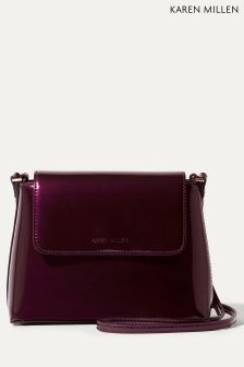 Karen Millen Purple Metallic Patent Purse