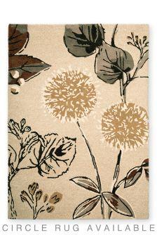 Wool Light Natural Botanical Floral Rug
