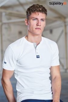 Superdry White Short Sleeve Henley T-Shirt