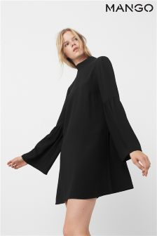 Mango Black Bell Sleeve Dress