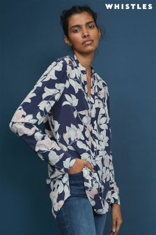 Whistles Blue Celia Apples And Pears Blouse