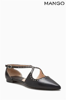 Mango Black Cross Strap Shoes
