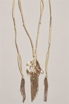 Neutral Cord Y-Drop Tassel Necklace