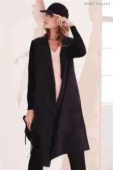 Mint Velvet Black Longline Knitted Sleeve Duster Coat