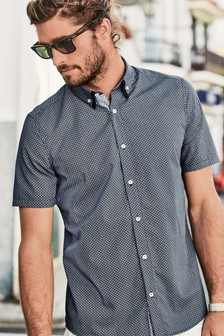 Short Sleeve Geo Print Double Collar Shirt
