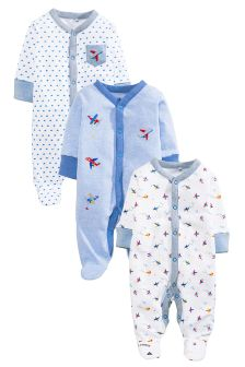 Aeroplane Sleepsuits Three Pack (0mths-2yrs)