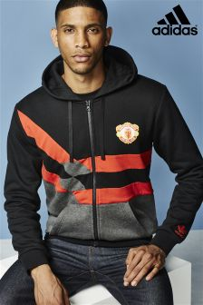 adidas Originals Black Manchester Utd Zip Through Hoody