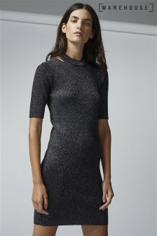 Warehouse Black Sparkle Split Neck Dress