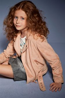 Suedette Biker Jacket (3-16yrs)