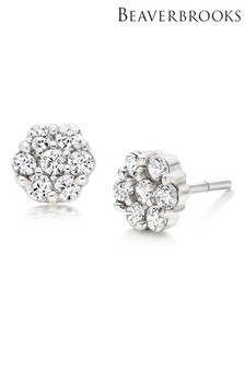 Beaverbrooks Silver Cubic Zirconia Flower Stud Earrings
