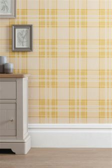 Ochre Astley Check Wallpaper
