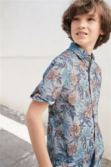 Short Sleeve Floral Print Shirt (3-16yrs)