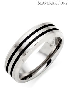 Beaverbrooks Mens Titanium And Black Rhodium Ring